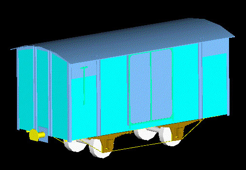 A drawing of the wagon in perspective